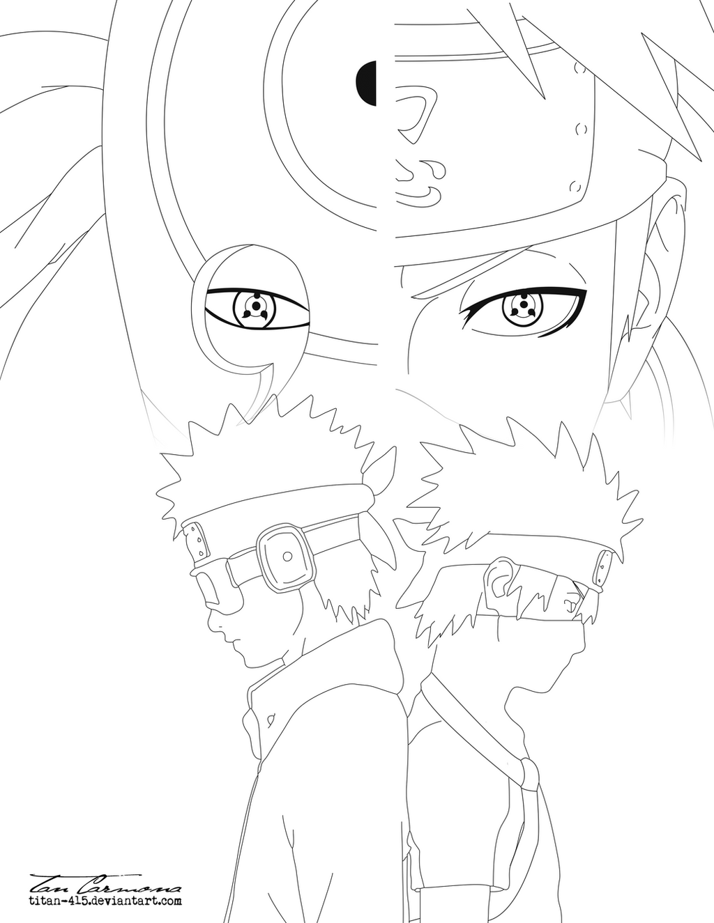Obito and Kakashi Same Eyes Lineart by titan-415 on DeviantArt