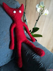 YARNY Unravel red plush_handmade by ladymisterya