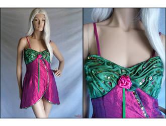 Magenta and green short dress by Umaslady