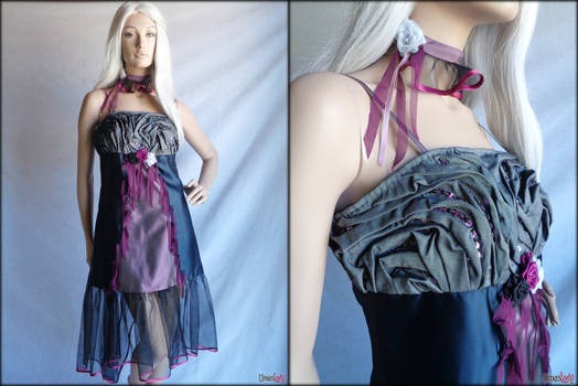 Black grey purple gothic woman dress with necklace