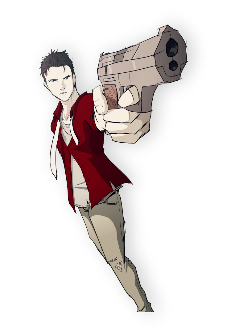 Random guy pointing a gun doodle by skeletonny