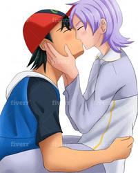 pokemon Ash kissing Anabel