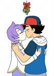 Ash and Anabel Christmas kiss
