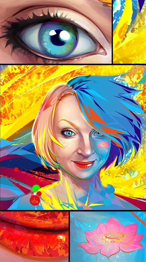 portrait  - vibrant  colors