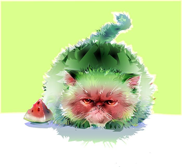 watermelon cat by limkis on deviantart
