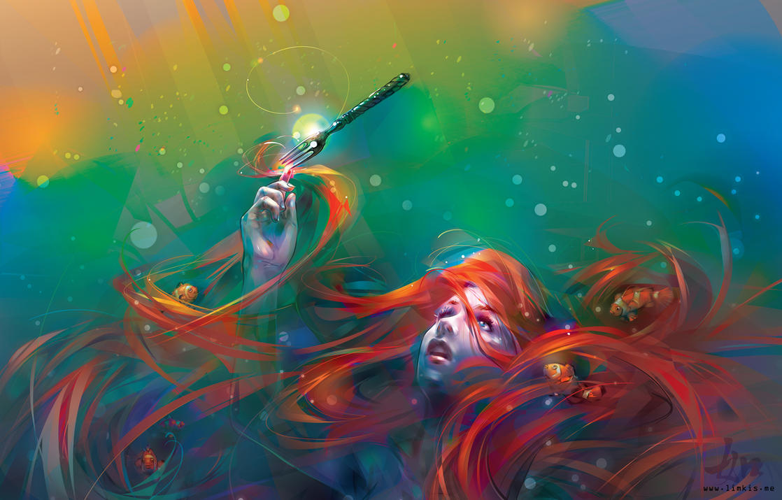 Ariel and fish fork 3284 39 2100 by limkis on deviantart for Buy digital art online