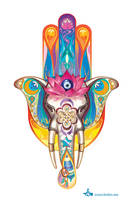 tattoo Hamsa and white elephant by LimKis