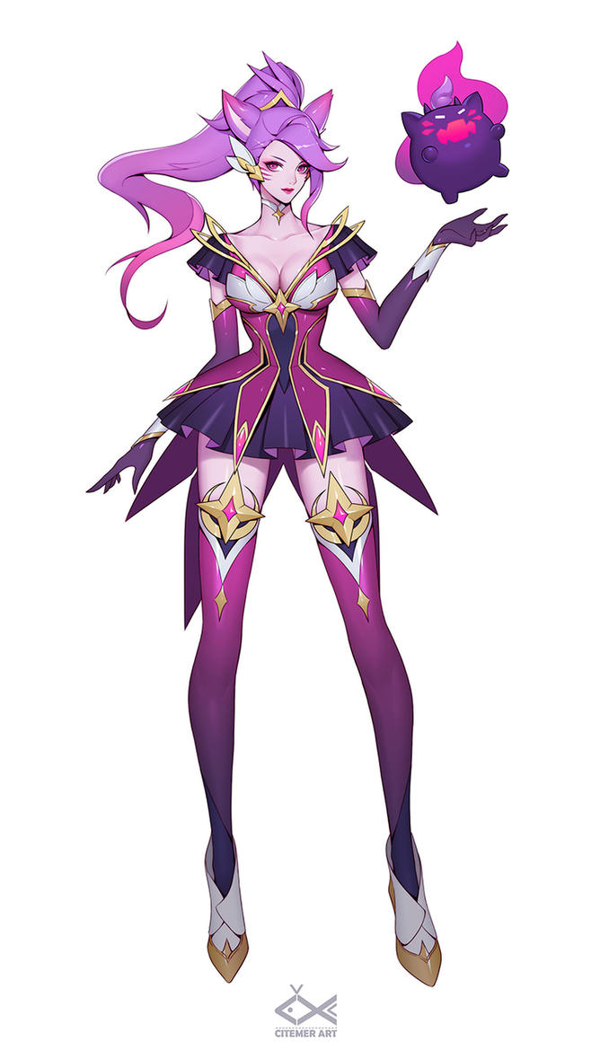 Star Guardian Ahri concept art (Fan skin for LoL) by citemer