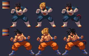 Vegeta and Goku KOF XIII Style by Methiou