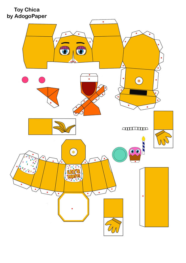 five nights at freddy's 2 Toy Chica papercraft pt1 by Adogopaper on DeviantArt