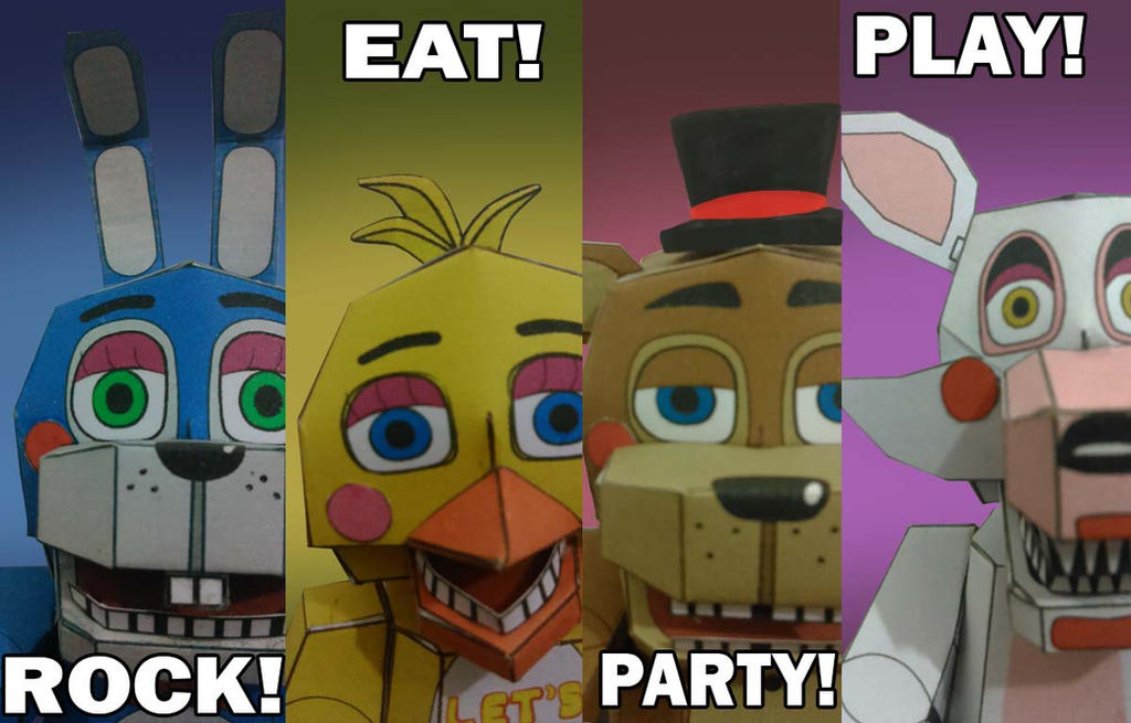 Fnaf 2 rock eat party play papercraft by adogopaper on deviantart