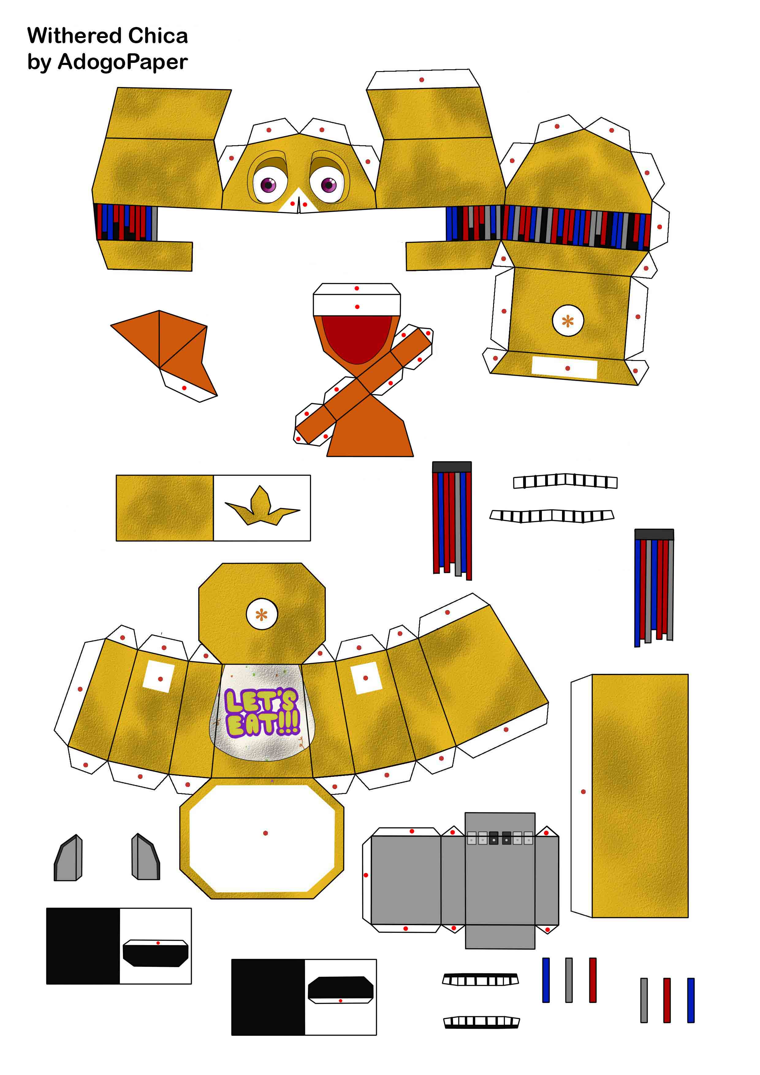 Five Nights At Freddy S 2 Old Chica Papercraft Pt1 By