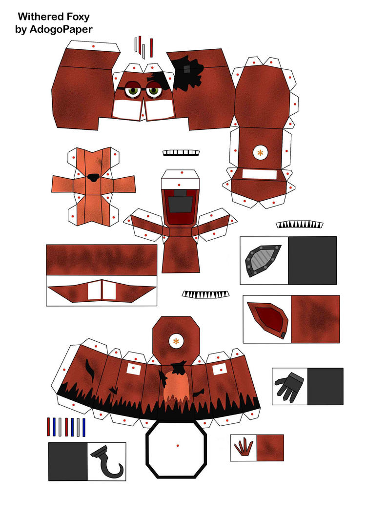 Five nights at freddy s 2 old foxy papercraft pt 1 by adogopaper on