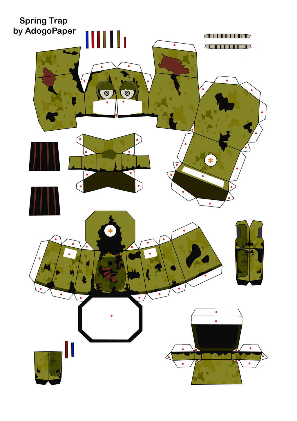 five nights at freddy's 3 SpringTrap Papercraft P1 by Adogopaper on ...