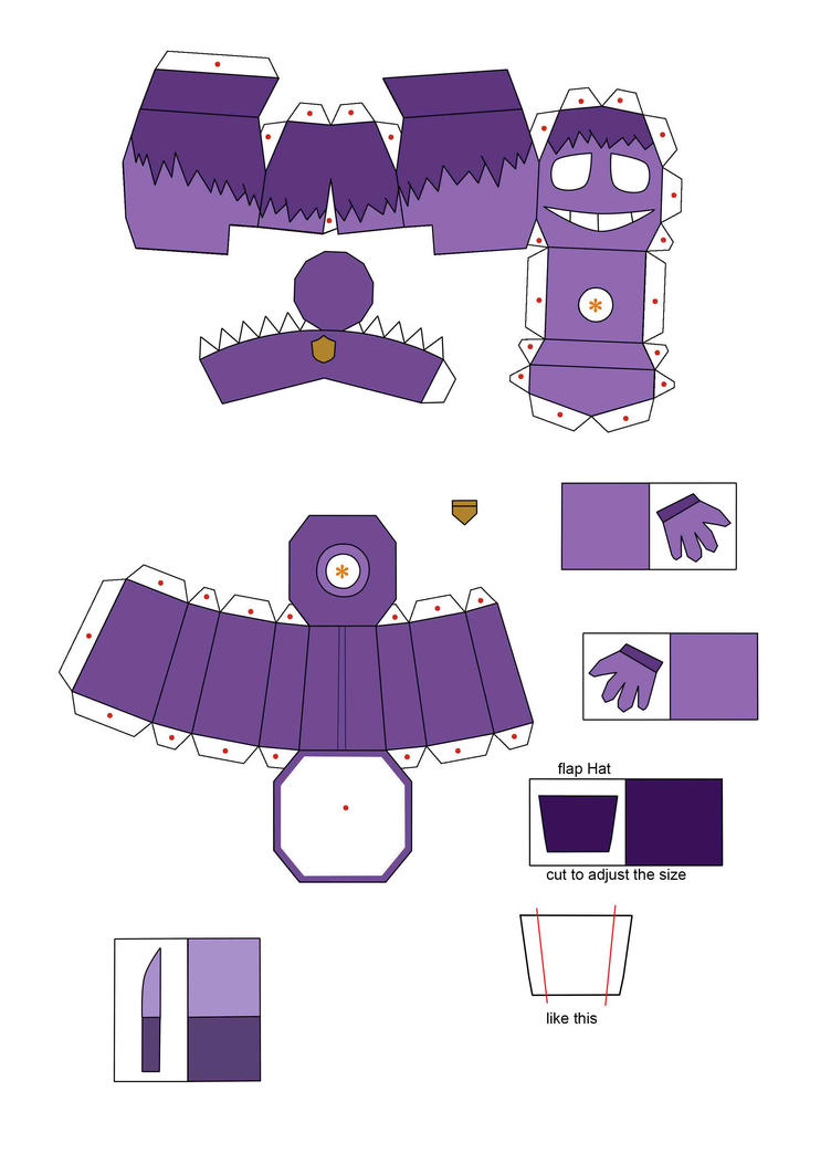 five nights at freddy's 2 purple guy papercraft p1 by