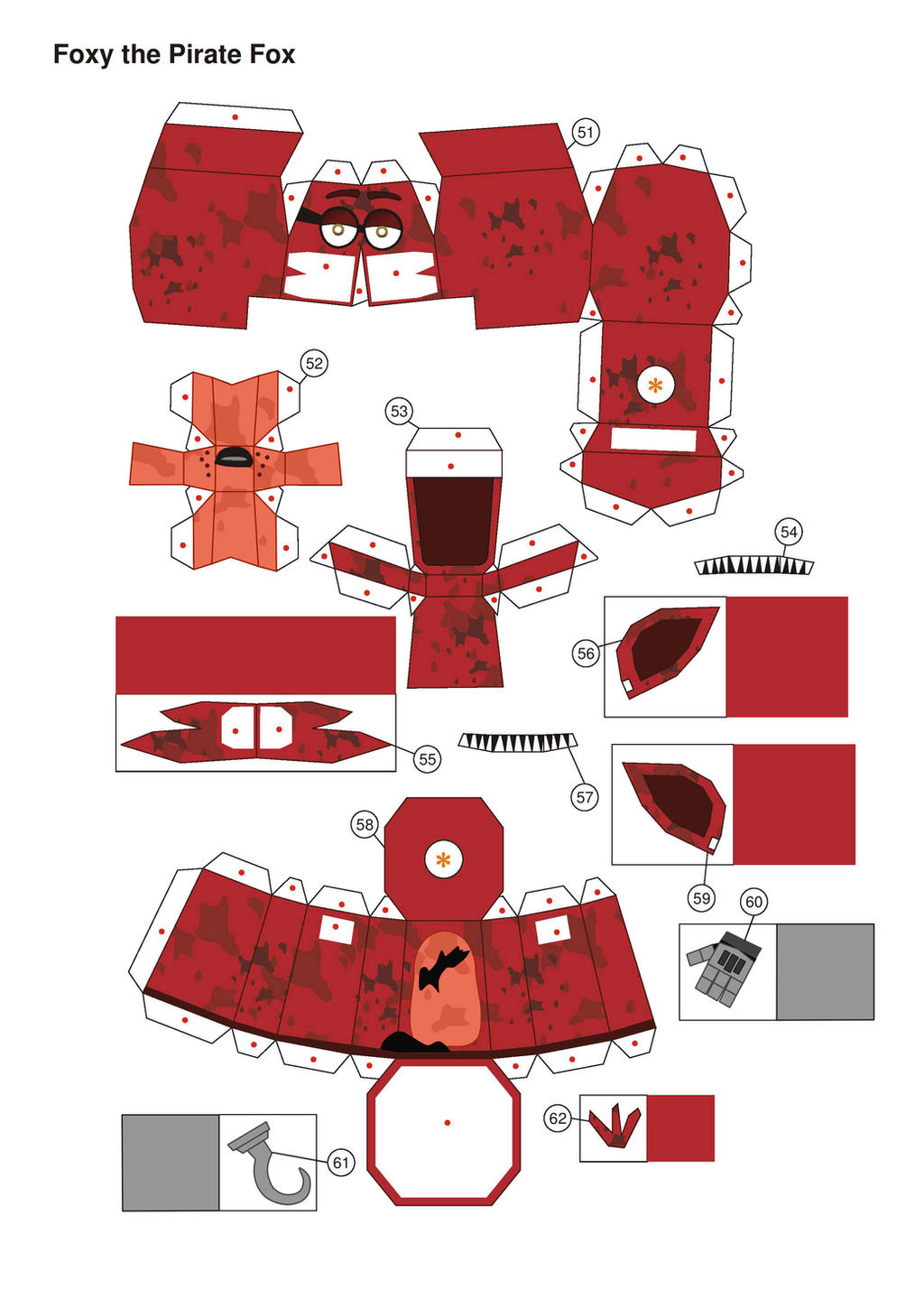 five nights at freddy's broken foxy papercraft P1 by