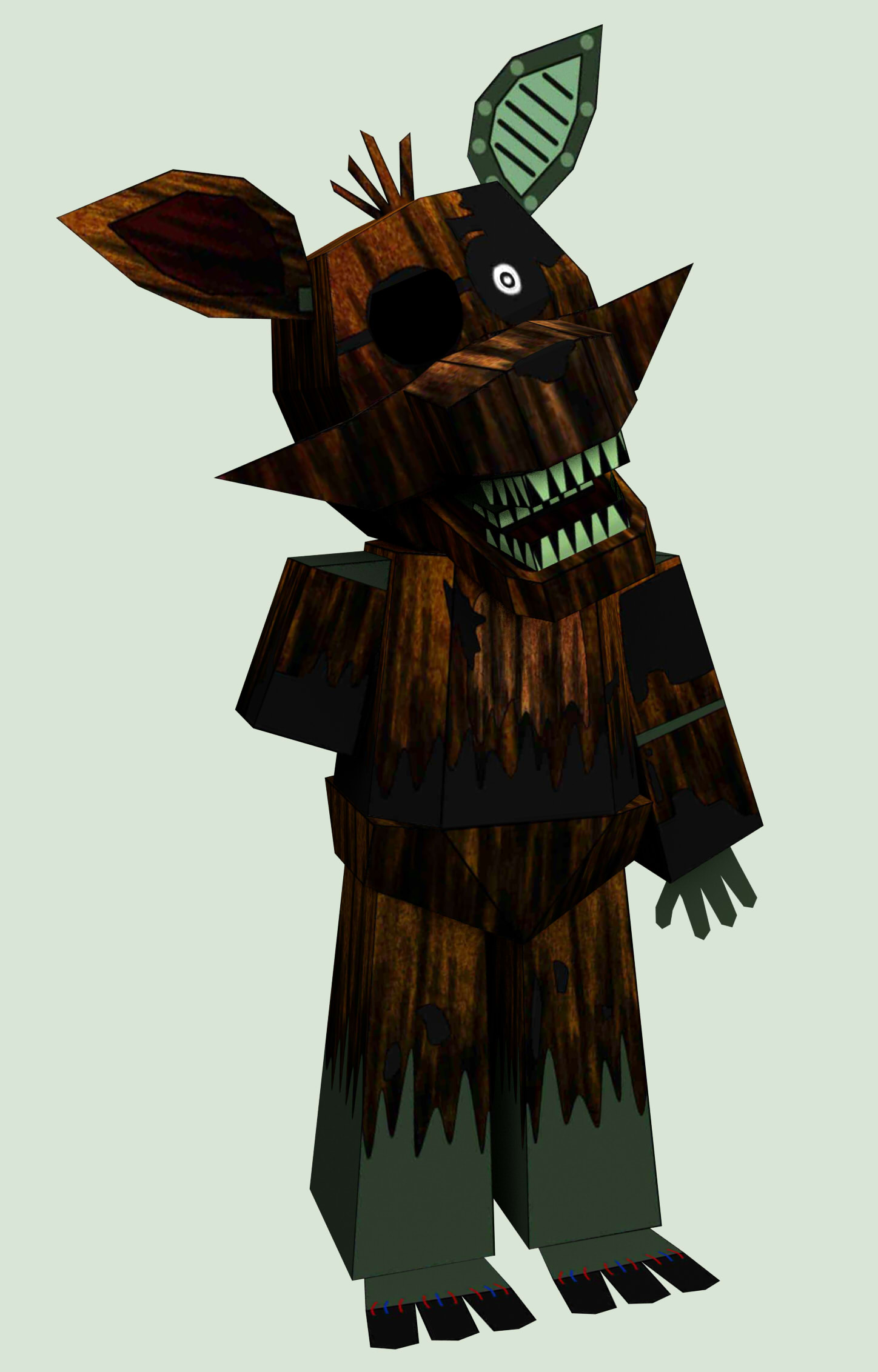 five nights at freddy's 3 phantom foxy papercraft by Adogopaper on