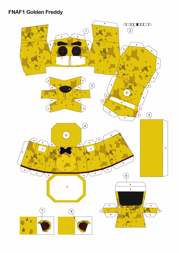 Five Nights At Freddy S Golden Freddy Papercraft By