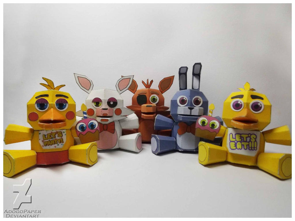 Five nights at freddy s plushies papercraft by adogopaper on