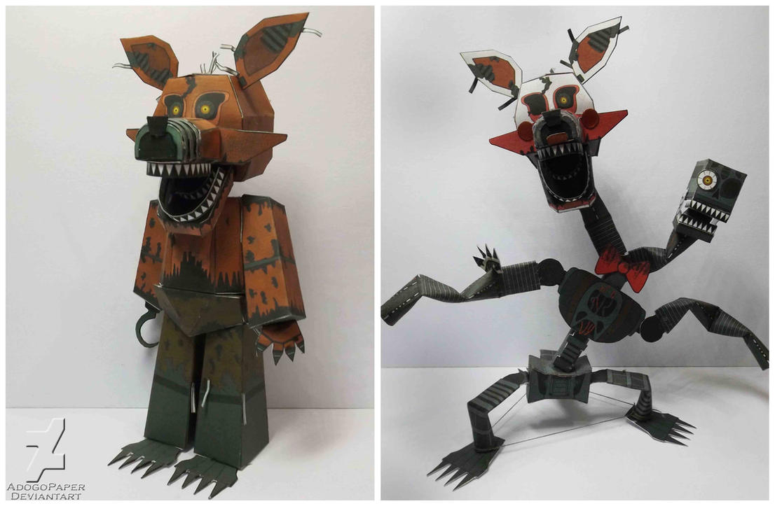 Fnaf 4 nightmare foxy mangle papercraft by adogopaper on deviantart