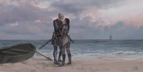 A couple's goodbye