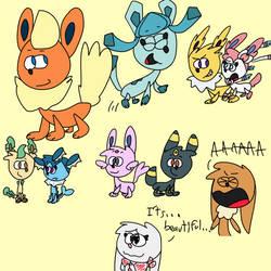 Random eeveelution doodles