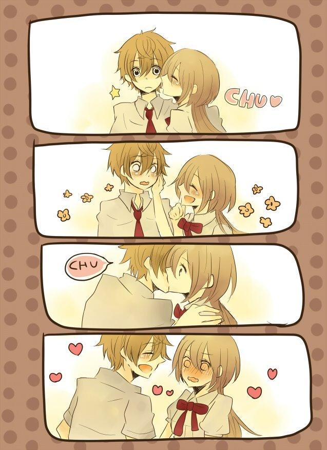 аниме картинки поцелуй любовь: