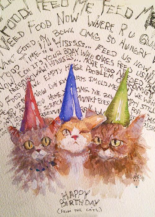 Cat Birthday Card by MarcoBucci