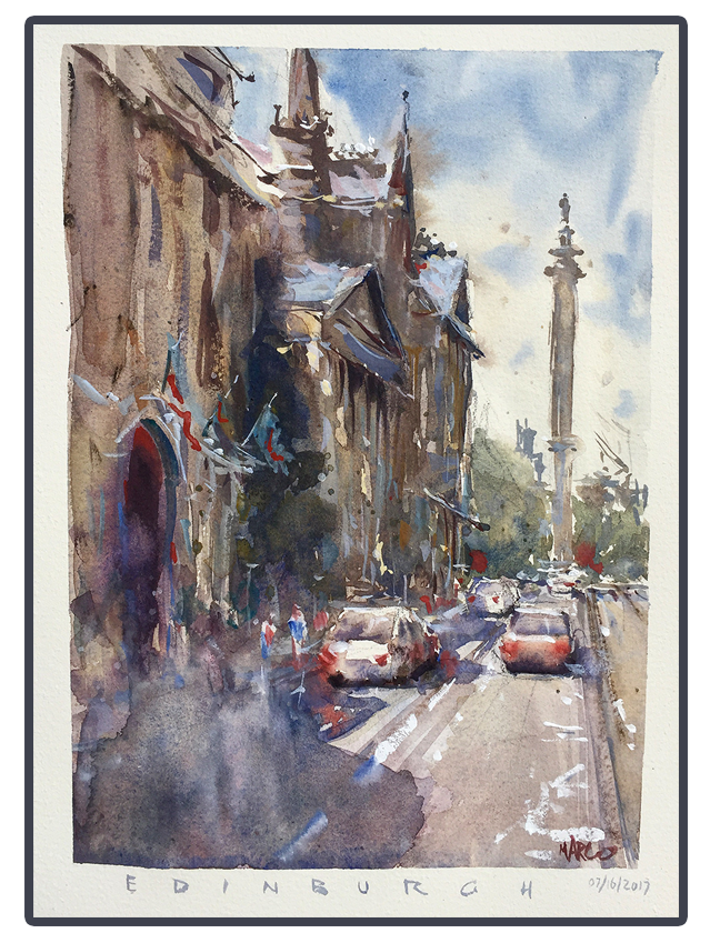 Edinburgh Street - Watercolour by MarcoBucci
