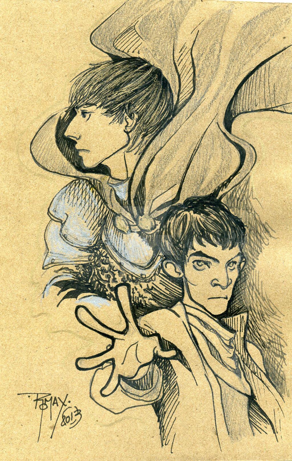 Merlin ink and pencil by Slashpalooza