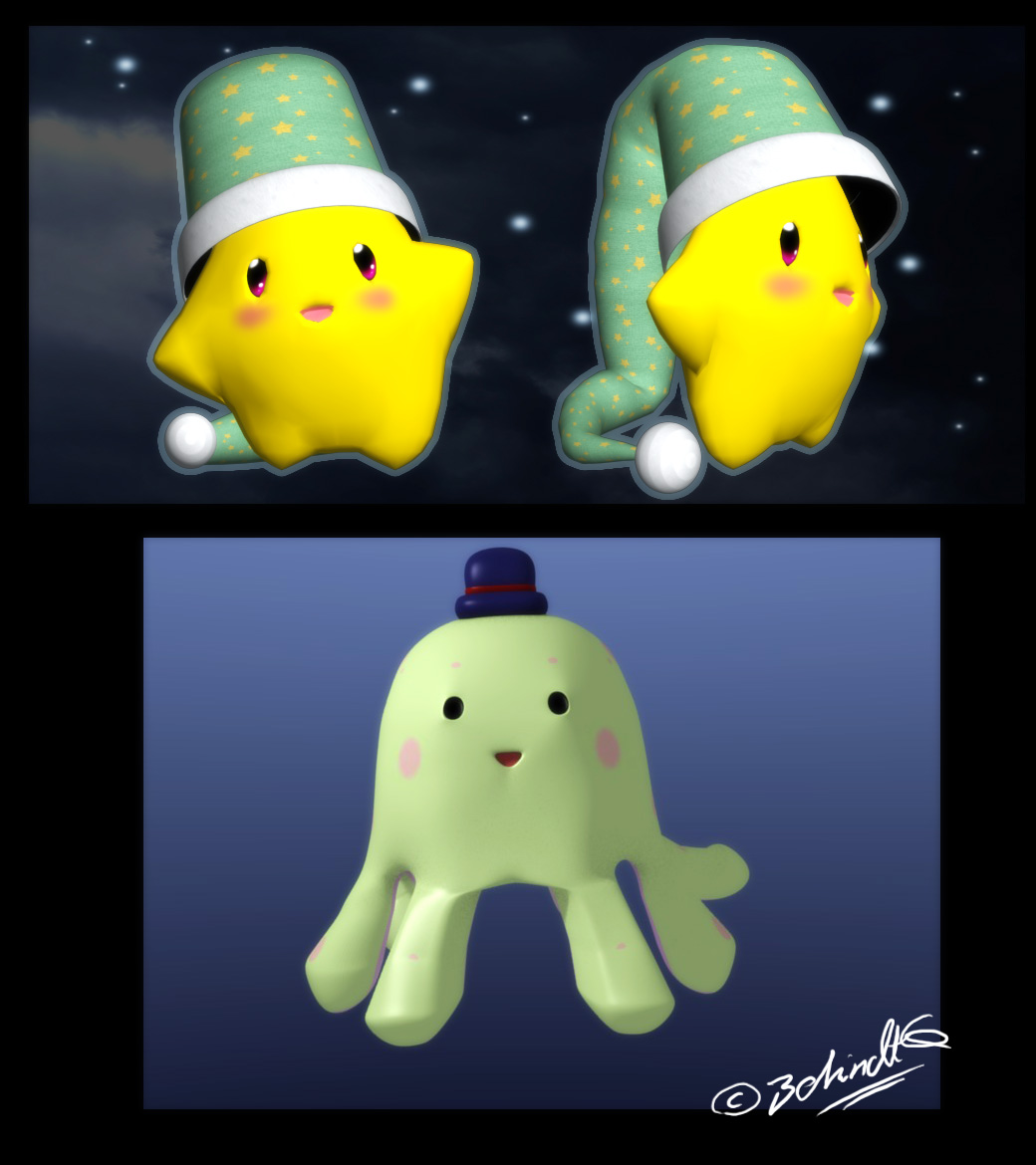 3D Twinkle and random Octopus by TamarinFrog