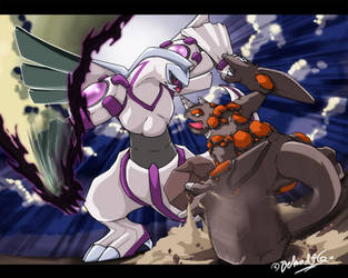 Palkia vs Rhyperior by TamarinFrog