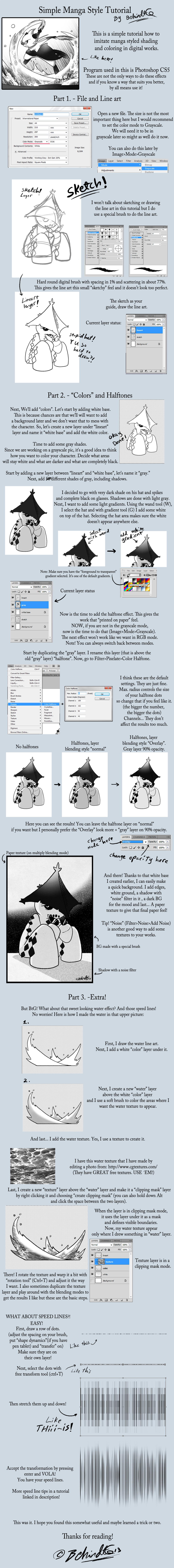 Simple Manga Style Tutorial by TamarinFrog