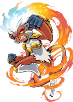 Infernape Used Flare Blitz by TamarinFrog