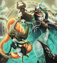 Zelda Twilight Princess: Midna's forms by ozkh