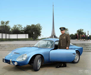 Yuri Gagarin with his Matra Bonnet Djet VS coupe by klimbims
