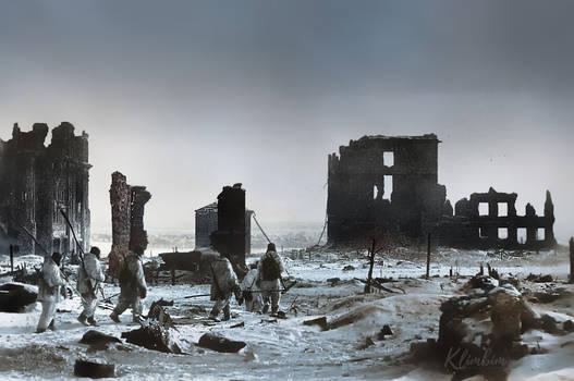The center of Stalingrad, winter 1943