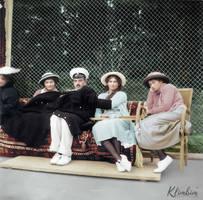 Olga, Tatiana, Maria and Nikolai Rodionov, 1913 by klimbims