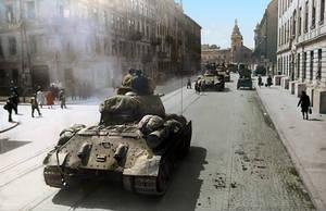 Soviet T-34 tanks on the streets of Lvov, 1944 by klimbims