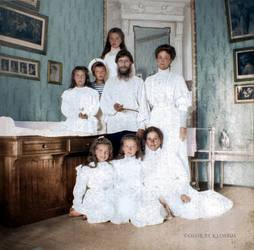 Rasputin and Tsar's family by klimbims