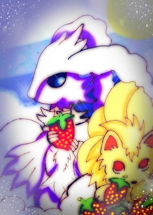 Reshiram and Nine Tails by KawaiiDarkAngel
