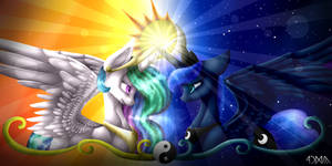Celestia and Luna by LunaMLPHUN