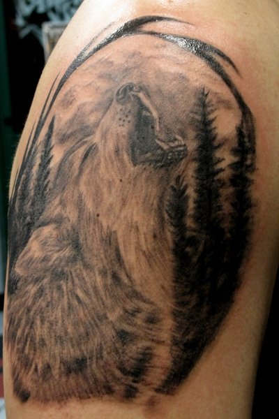 Howling Wolf Tattoo by BenZoArt on DeviantArt