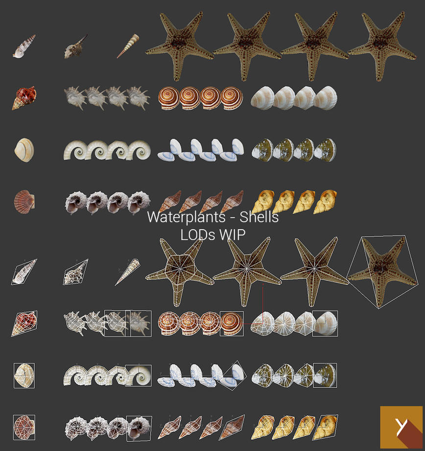 Waterplants - Shells - LODs WIP 2 by Nobiax