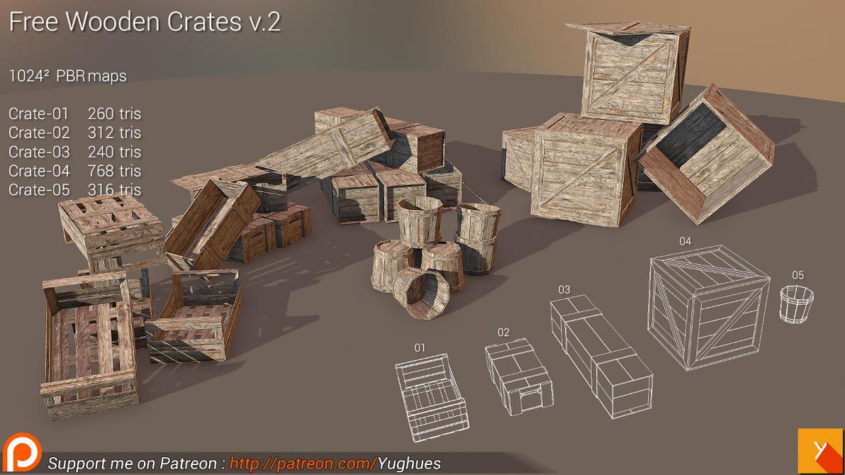 [Cubebrush] Free Wooden Crates v.2 by Yughues