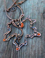 Red Samhain - wire wrapped copper necklace by Bohemi-enne