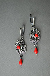 Celebrations - sterling silver earrings with coral by Bohemi-enne