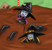 Respirator Witches in the Quick Chocolate Bog by Dr-Scaphandre