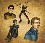 Urban Fantasy sketches (Vimes, Cal, Stark, Dean)