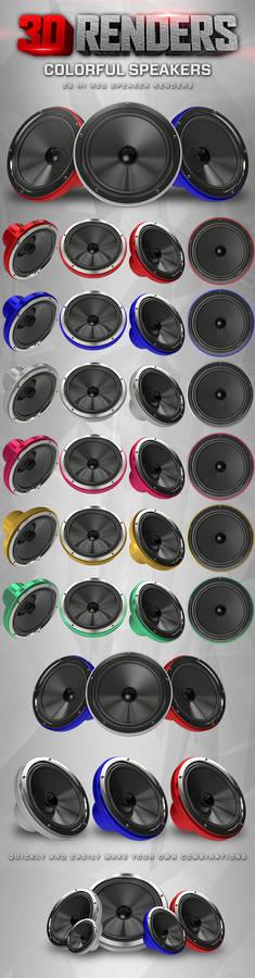 Colorful Speakers 3D Renders